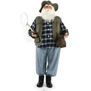 58 Inch Dancing Santa in Fishing Outfit with Net and Fish Basket