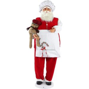 58 Inch Dancing Santa in Baking Outfit with Gingerbread Boy and Candy Cane
