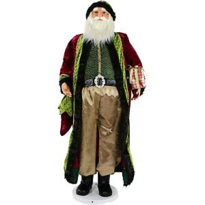 58 Inch Dancing Santa with Jeweled Velvet Robe and Wrapped Gift