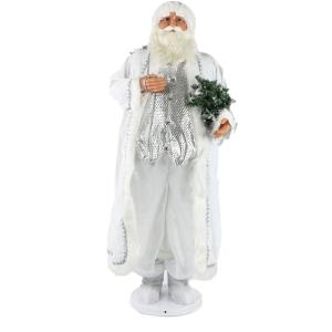 58 Inch Dancing Santa in Long White Robe with Mini Christmas Tree and Gift Sack