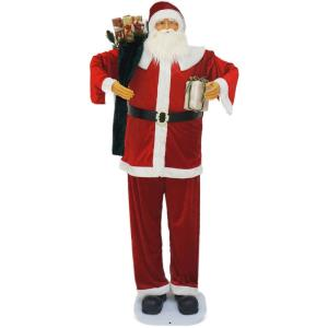 "76"" Dancing Santa with Gift and Toy Sack"