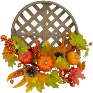 22inch Fall Harvest Wreath Door Hanging with Pumpkins and Pine Cones in a Classic Tobacco Basket