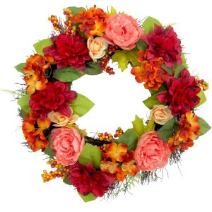 24inch Fall Harvest Wreath Door Hanging with Dahlias and Peonies