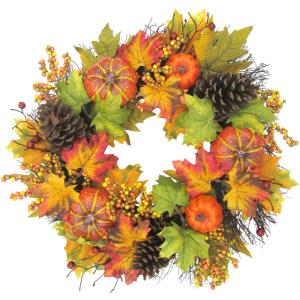 24inch Fall Harvest Wreath Door Hanging with Pumpkins, Mixed Leaves and Pine Cones