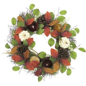 24inch Fall Harvest Wreath Door Hanging with Varied Pumpkins and Pine Cones