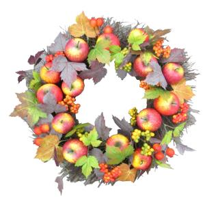24inch Fall Harvest Wreath Door Hanging with Apples and Berries