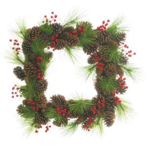 24 Inch Square Christmas Decor Wreath Trimmed with Red Berries, Long Needle Pine, and Pinecones