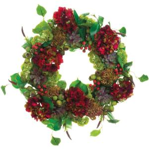 26 Inch Round Christmas Decor Wreath Trimmed with Hydrangea, Echeveria and Sedum
