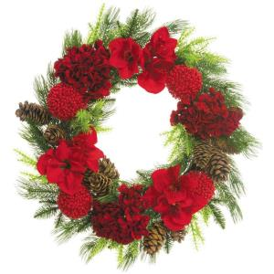 28 Inch Round Christmas Decor Wreath Trimmed with Hydrangea, Amaryllis, Red Berry Balls and Pine Cones