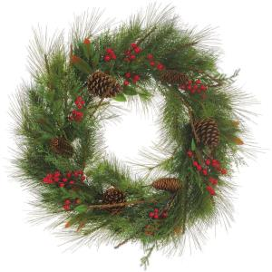 30 Inch Round Christmas Decor Wreath Trimmed with Red Berries, Cedar Boughs, and Pine Cones