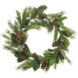 34 Inch Round Christmas Decor Pine Wreath Trimmed with Magnolia Leaves and Pine Cones