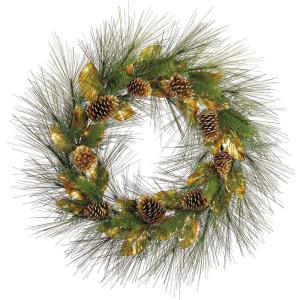 36 Inch Round Christmas Decor Pine Wreath Trimmed with Magnolia Leaves and Pine Cones