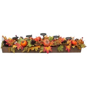 42inch Fall Harvest 5Candle Holder Centerpiece with Pumpkins, Mixed Leaves and Pine Cones in a Wooden Box