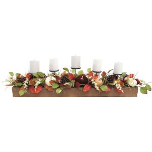 42inch Fall Harvest 5Candle Holder Centerpiece with Varied Pumpkins and Pine Cones in Wooden Box