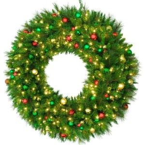 48 Inch Round Pine Wreath Christmas Decor Trimmed with Ornaments and Warm White LED Lights