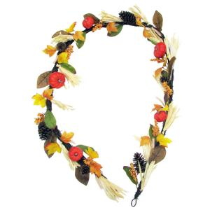 9ft Fall Harvest Garland Decor with Corn Husks, Pumpkins and Pine Cones