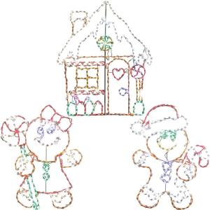 "66"" Christmas Giant Outdoor LED Lights, 3-Piece Gingerbread Set with Boy, Girl and House"