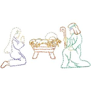 "51"" Christmas Giant Outdoor LED Lights, 3-Piece Nativity Set with Joseph, Mary and Baby Jesus"