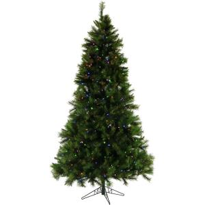 90 Inch Canyon Pine Christmas Tree with Multi-Color LED String Lighting