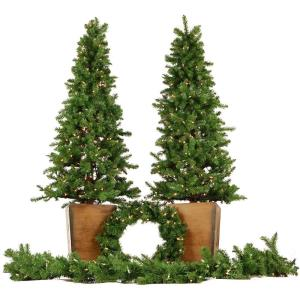 "Colorado Fir - 72"" Artificial Holiday Doorway Bundle with Two 6' Potted Trees, 24"" Wreath, and 9' Garland"