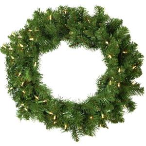 "Colorado Fir - 24"" Artificial Holiday Wreath with Battery-Operated Warm LED String Lights"