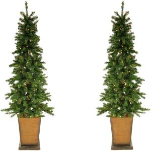 Colorado Fir - 6' Artificial Holiday Potted Trees with Smart LED Lighting (Set of 2)