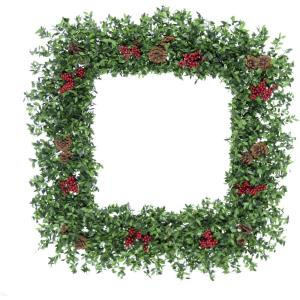 Evergreen Berry - 36 Inch Oversized Square Wreath with Pinecones and Berries