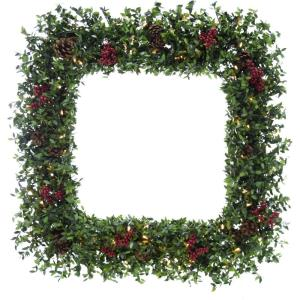 Evergreen Berry - 36 Inch Prelit Oversized Square Wreath with Pine Cones, Berries, and Warm White LED Lights