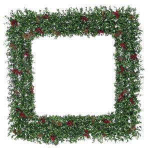 Evergreen Berry - 48 Inch Oversized Square Wreath with Pine Cones and Berries