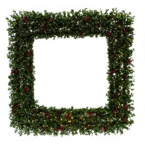 Evergreen Berry - 48 Inch Prelit Oversized Square Wreath with Pinecones, Berries, and Warm White LED Lights