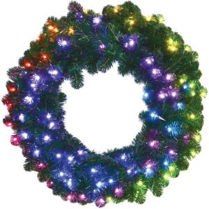 Festive - 36 Inch All-Season Holiday Decor Wreath with Multi-Color RGB LED Lights and LeaveUP Lites App