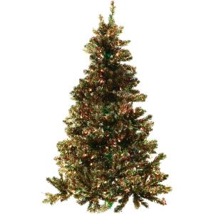 Festive - 72 Inch Tinsel Christmas Tree with Clear LED Lighting