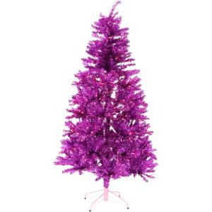 Festive - 84 Inch Tinsel Christmas Tree with Clear LED Lighting