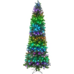 Festive - 90 Inch All-Season Christmas Tree with Multi-Color RGB LED Lights and LeaveUP Lites App