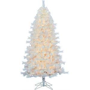 78 Inch Prelit Frosted Valley Christmas Tree with EZ Connect Clear LED Lights and Metal Stand
