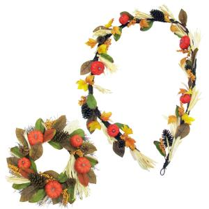 24inch Wreath and 9ft Garland Fall Harvest Decor Set with Corn Husks, Pumpkins and Pine Cones