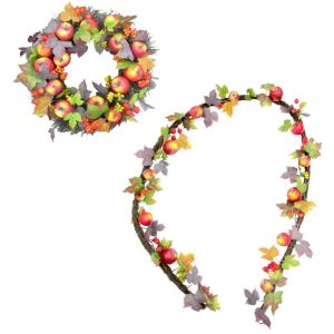 24inch Wreath and 9ft Garland Fall Harvest Decor Set with Apples and Berries