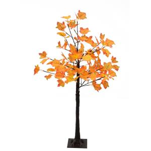 Harvest Maple Tree Fall Decoration with MultiHue Orange Leaves and Metal Base