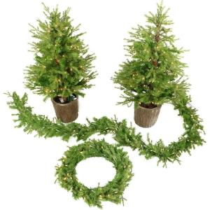 "New England - 48"" Artificial Holiday Doorway Bundle with Two 4' Potted Trees, 24"" Wreath, and 9' Garland"