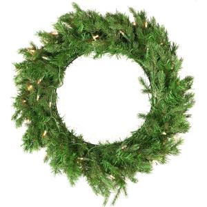 "New England Pine - 24"" Artificial Holiday Wreath with Battery-Operated Warm LED String Lights"