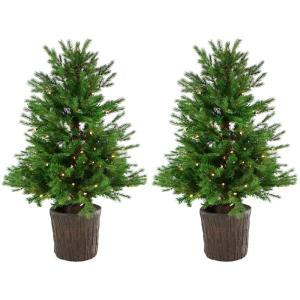 New England Pine - 4' Artificial Holiday Potted Trees with Smart LED Lighting (Set of 2)