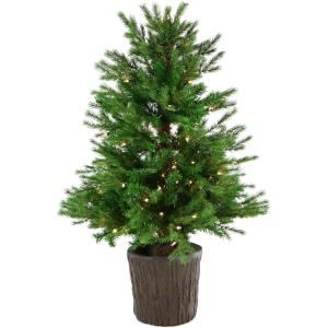 New England Pine - 4' Artificial Potted Tree with Smart LED Lighting