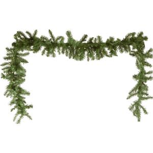 9' New England Pine Artificial Holiday Garland with Battery-Operated Warm LED String Lights