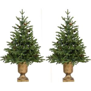 Noble Fir - 4' Artificial Trees with Metallic Urn Bases (Set of 2)