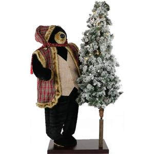 60 Inch Animated Black Bear with 66 Inch Pre-Lit Flocked Christmas Tree On Base