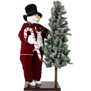 60 Inch Animated Snowman with 66 Inch Pre-Lit Flocked Christmas Tree On Base