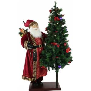 60 Inch Animated Santa Claus with 66 Inch Pre-Lit Decorated Christmas Tree On Base