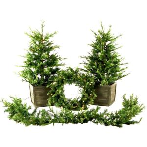 Royal Pine - Artificial Holiday Doorway Bundle with Two 4 Ft. Potted Trees, 24 In. Wreath, and 9 Ft. Garland
