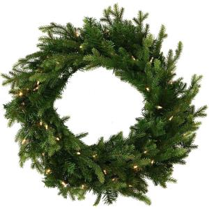 "Royal Pine - 24"" Artificial Holiday Wreath with Battery-Operated Warm LED String Lights"