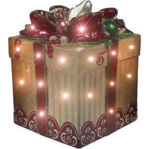 22 Inch Tall Square Gift Box with Bow with Long-Lasting LED Lights